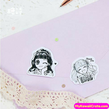 45 Pc Anime Girl Black and White Decorative Stickers
