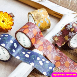 Autum Leaves Silver Details Washi Tape / Masking Tape