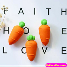 3 Pc Pk Cute Carrot Pencil Erasers