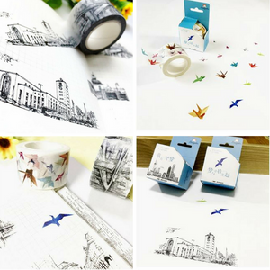 Colorful Paper Cranes and Black and White City Buildings Decorative Washi Tape / Masking Tape