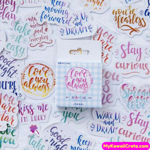 46 Pc Pk Colorful Good Mood Positive Phrases Decorative Stickers