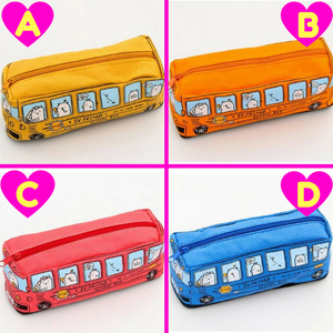 Creative School Bus Large Capacity Canvas Pencil Bag