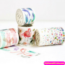 Creative Watercolor Designs Wide Washi Tape / Masking Tape, Underwater Whale Flamingo Feather Sun Moon Planets Deco Tape