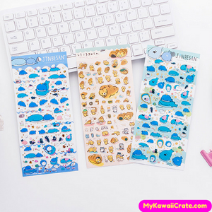 Japanese Cartoon Jinbe San Whale & Bread Cat Stickers