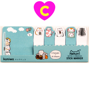 Cute Kawaii Animals Sticky Marker Index Notes ~ Self Adhesive Memo Tabs