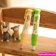 Kawaii Bean Friends Press Style Pencil Eraser and Refills Pack
