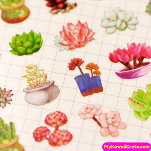 Kawaii Makeup Succulent Plants Ocean Fish Furniture Stationery Stickers
