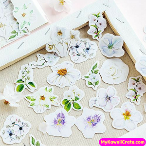 white flowers stickers
