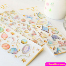 Fairy Tale Pegasus Unicorn Princess Castle Constellation Translucent Gilding Stickers