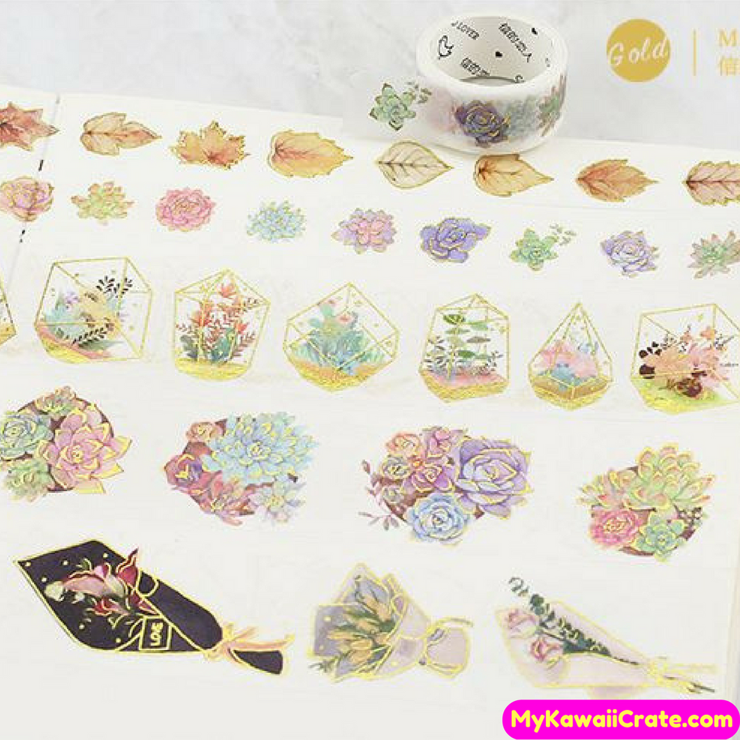 Flowers Greenhouse Terrarium Leaves Gilding Washi Tape / Masking Tape