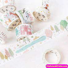 Forest Animals Scenery Pastel Colors Washi Tape / Masking Tape