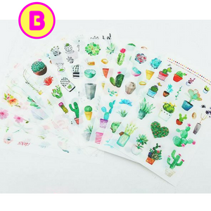 6 Sheets Green Plants, Cactus & Flowers Decorative Stickers