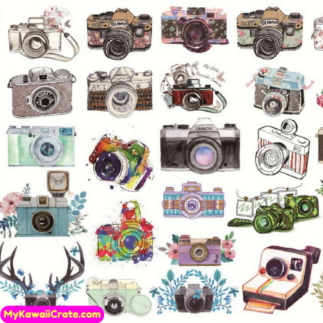 Uncut A5 Hand Painted Photo Camera Stickers