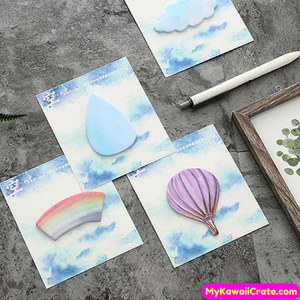 Hot Air Balloon Clouds Rainbow Raindrop Sticky Notes