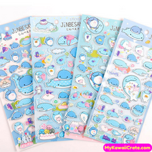 Jinbe San Japanese Cartoon Whale Shark Puffy Stickers