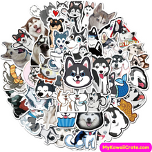 Kawaii Cute Husky Waterproof Stickers 50 Pc Pack