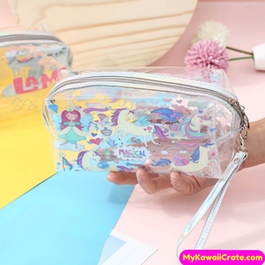 Kawaii Alpaca Llama Unicorn Big Capacity Transparent Pencil Bag