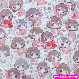Kawaii Anime Young Girls Manga Stickers