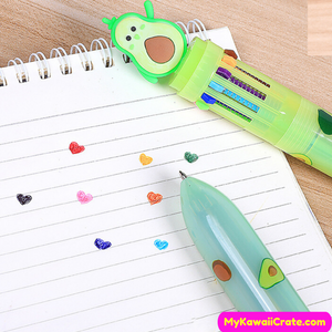 Kawaii Avocado 12 Colors in 1 Chunky Ballpoint Pen ~ Multicolor Pen