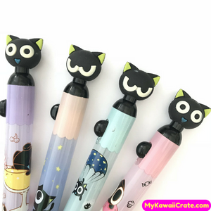 Kawaii Black Cat Silicone Head Side Press Mechanical Pencil