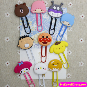 Kawaii Cartoon Characters Big Paper Clip Bookmark