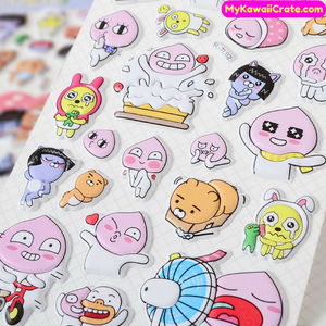 Kawaii Cartoon Kakao Friends 3D Puffy Stickers