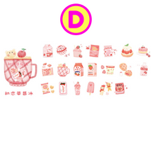 Kawaii Cartoon Milk Snack Cat Pastry Stickers 40 Pc Pack