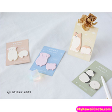 4 Packs Set ~ Kawaii Chubby Animals Sticky Notes / Cute Corgi Dog Panda Alpaca Pig Self Adhesive Memo Notes