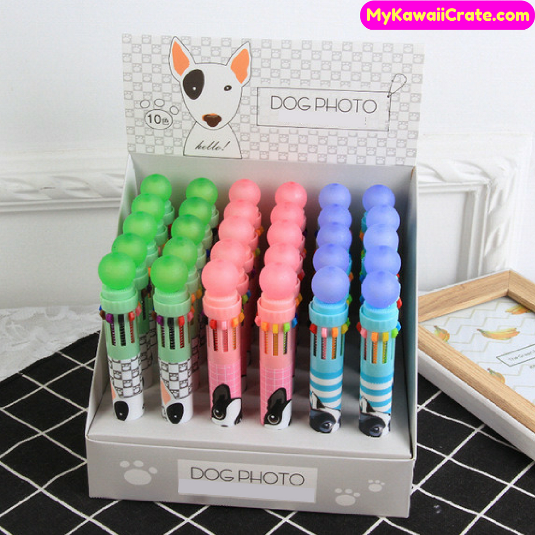 Kawaii Cute Dog 10 Colors in 1 Chunky Pen