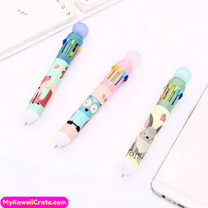 Kawaii Forest Animals 10 Colors in 1 Chunky Ballpoint Pen