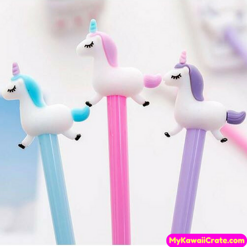 3 Pc Kawaii Galloping Unicorn Gel Pens