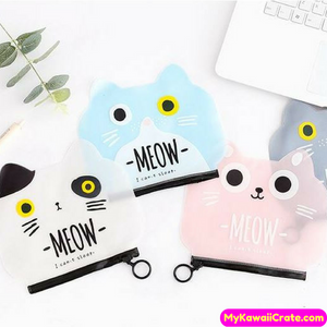 Kawaii Meow Cartoon Cat Multipurpose Waterproof Makeup / Pencil Bag