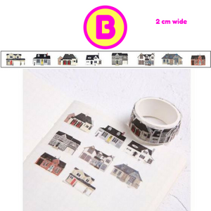 Kawaii Ninja Cat Cactus House License Plate Food Drinks Retro Style Washi Stickers in a Roll