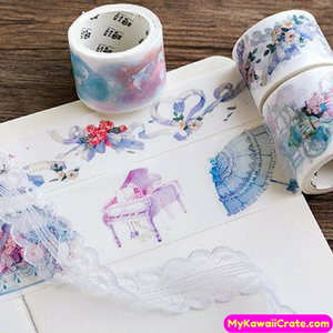 Kawaii Piano Princess Floral Art Washi Tape / Masking Tape