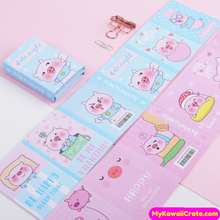 Kawaii Pink Pig Folding Memo Notes and Sticky Notes Set