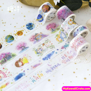 Lovely Girl Wishes Sakura Scenery Gilding Planets Washi Tape / Masking Tape