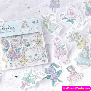 girl and cat stickers