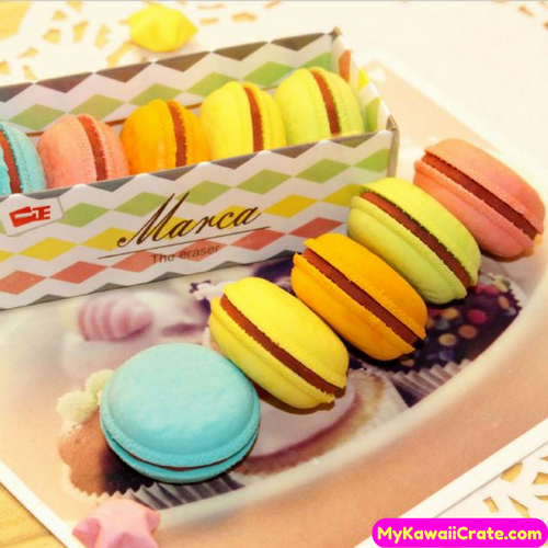 5 Pc Pk Kawaii Yummy Macaron Rubber Pencil Erasers