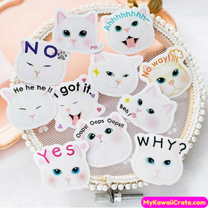 45 Pc Pk Funny Meow Cat Moods Decorative Mini Stickers