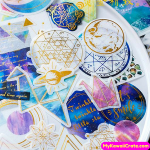 Night Star Magic Circle Origami Motivational Phrase Washi Stickers