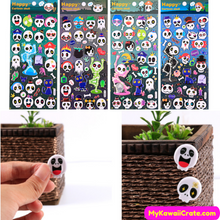 Noctilucent Halloween Skull Skeleton Puffy Stickers ~ Glow in the Dark Stickers