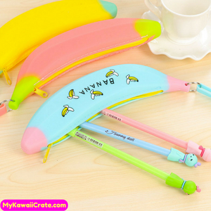 Novelty Kawaii Banana Silicone Pencil Bag