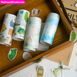 Paradise Flowers Cactus Travel Mountains Wide Washi Tape / Masking Tape