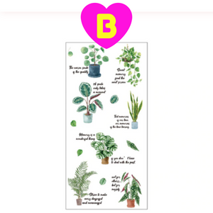Plants Flowers and Leaves Handwritten Style PVC Stickers