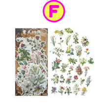Retro Lifestyle Butterfly Flowers Sticker Set / Vintage Style Transportation Butterflies Floral Decorative Stickers