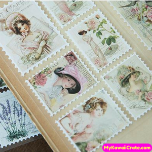 Retro Style Stamps Decorative Stickers 3 Sheets Pack