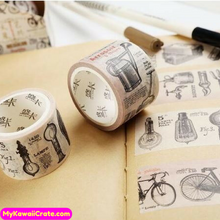 Retro French Style Bicycle Light Bulbs Garden Tools Washi Tape / Masking Tape