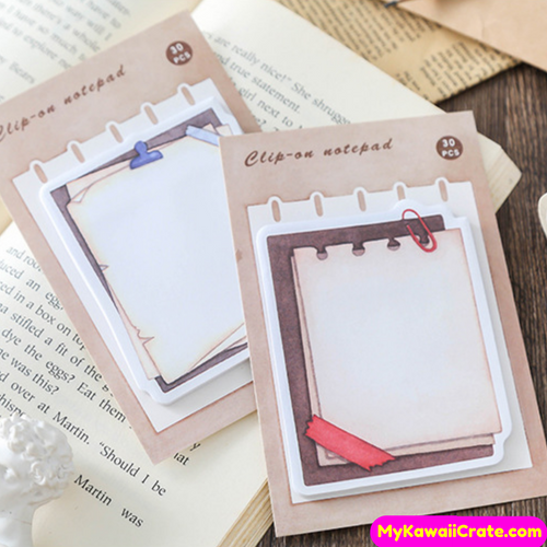 Retro Style Clip on Paper Sticky Notes