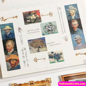 Retro Style Stamps Famous Van Gogh Paintings Buildings Decorative Stickers