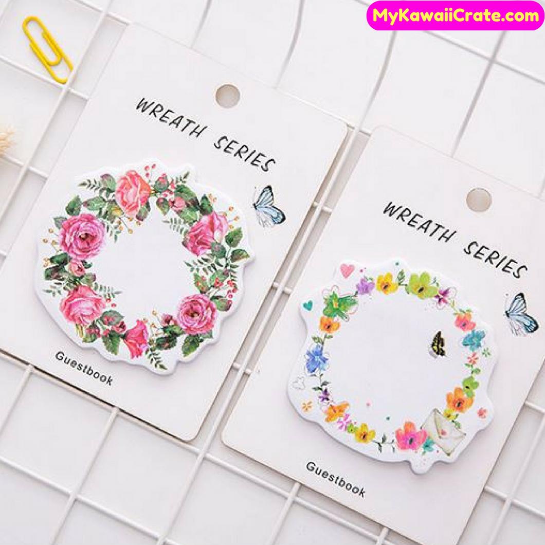 Romantic Beautiful Floral Garland Wreath Sticky Notes